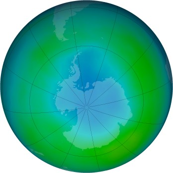 Antarctic ozone map for 2001-05