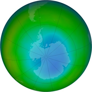 Antarctic ozone map for 2001-07