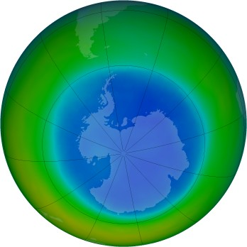 Antarctic ozone map for 2001-08