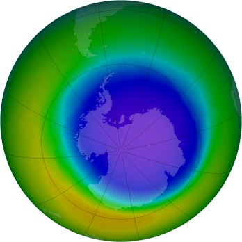 Antarctic ozone map for 2001-10