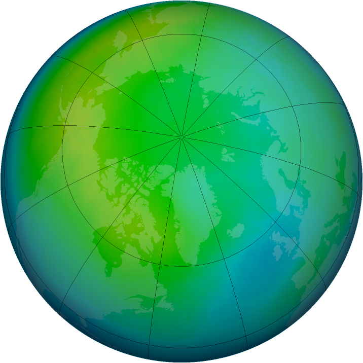 Arctic ozone map for November 2001