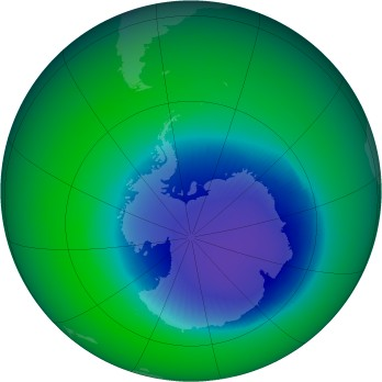 November 2001 monthly mean Antarctic ozone