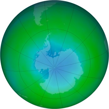 Antarctic ozone map for 2001-12