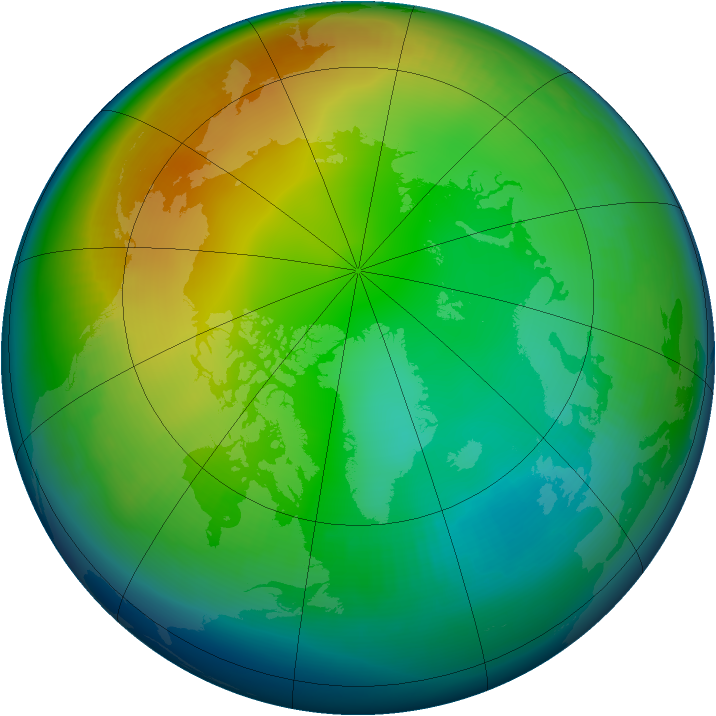 Arctic ozone map for December 2001