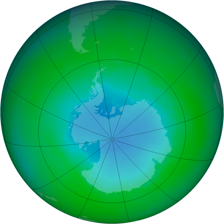 Antarctic ozone map for December 2001
