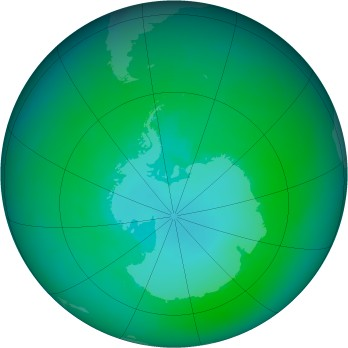 Antarctic ozone map for 2002-01