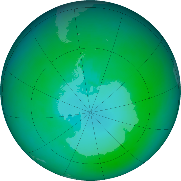 Antarctic ozone map for January 2002