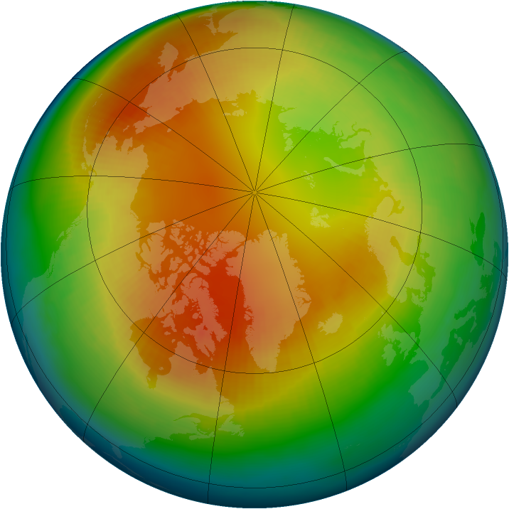 Arctic ozone map for February 2002