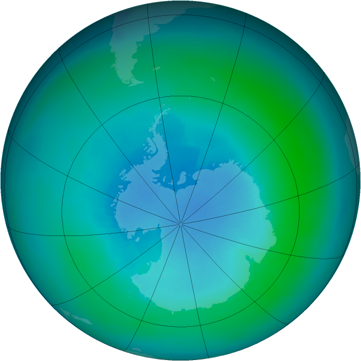 Antarctic ozone map for March 2002