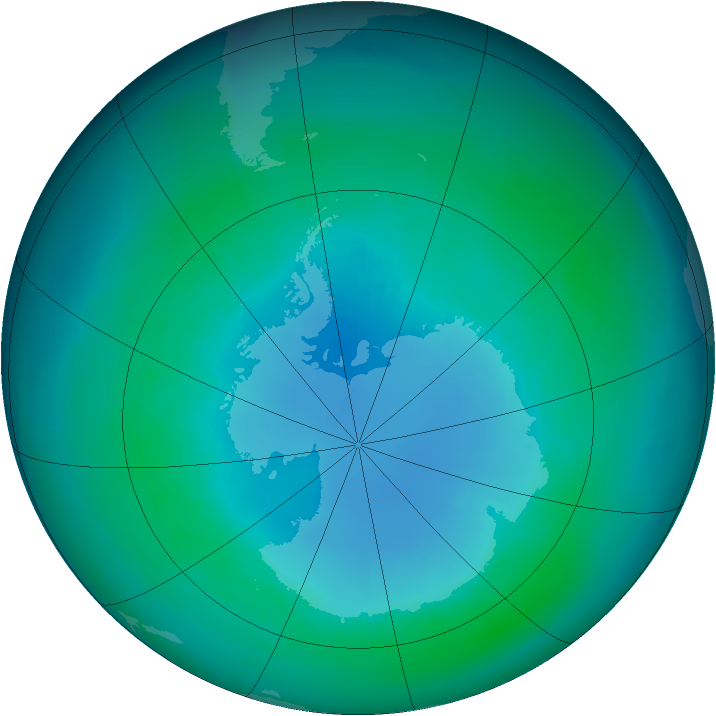 Antarctic ozone map for April 2002