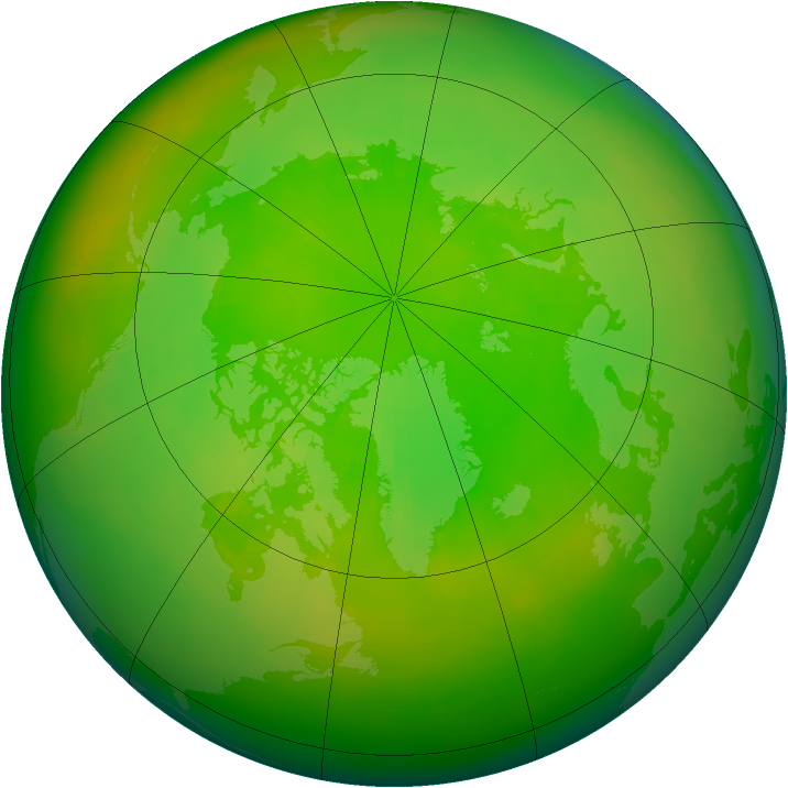 Arctic ozone map for June 2002