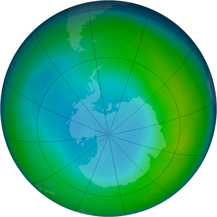 Antarctic ozone map for June 2002