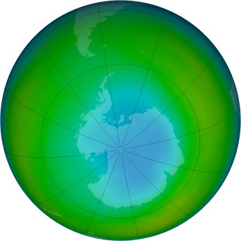 Antarctic ozone map for 2002-07