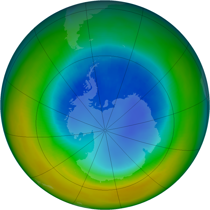 Antarctic ozone map for August 2002