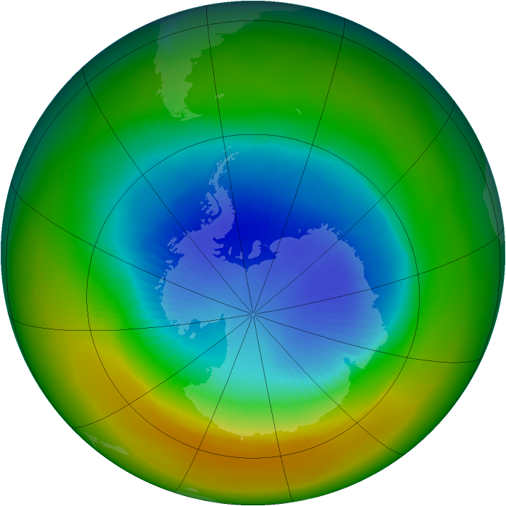 Antarctic ozone map for September 2002