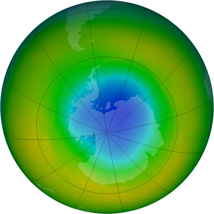 Antarctic ozone map for October 2002