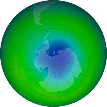 October 2002 monthly mean Antarctic ozone