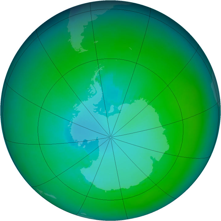 Antarctic ozone map for January 2003
