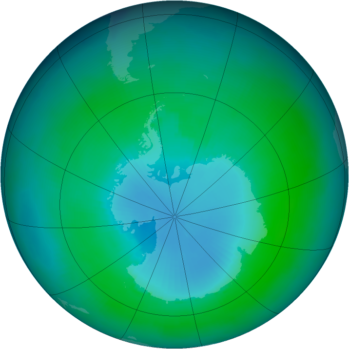 Antarctic ozone map for February 2003