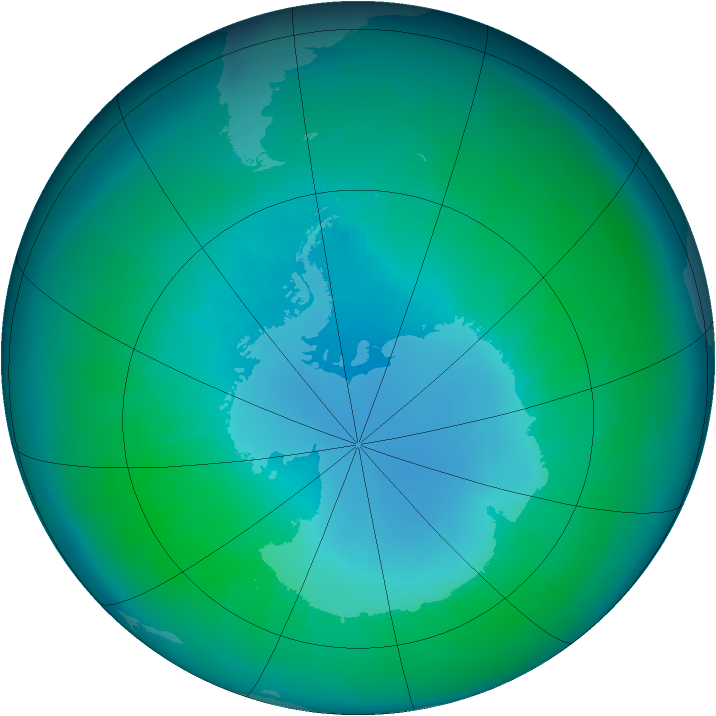 Antarctic ozone map for April 2003