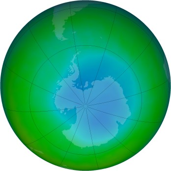Antarctic ozone map for 2003-07