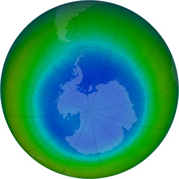 Antarctic ozone map for 2003-08
