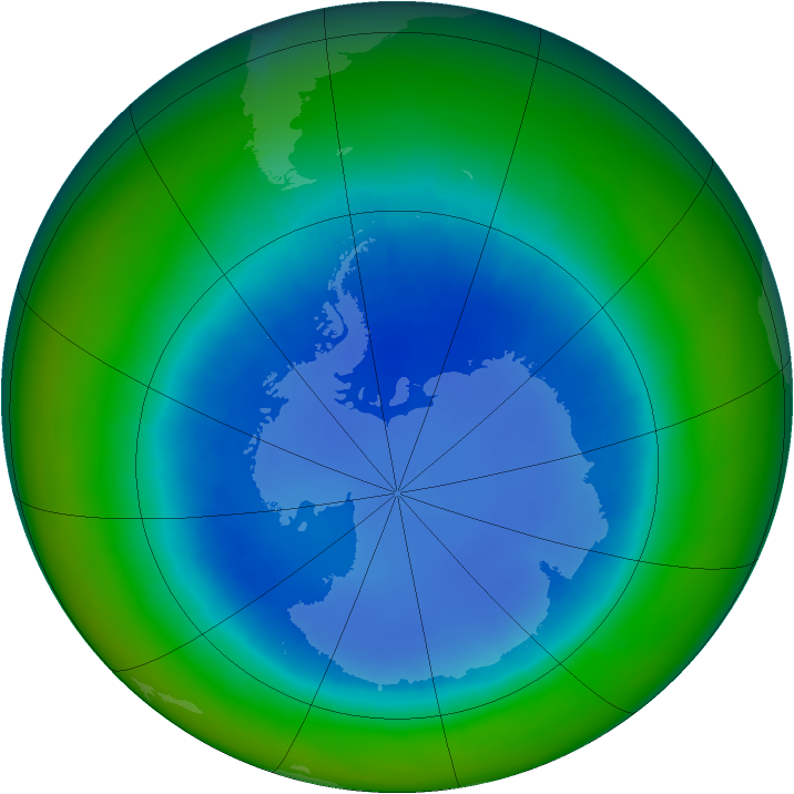 Antarctic ozone map for August 2003