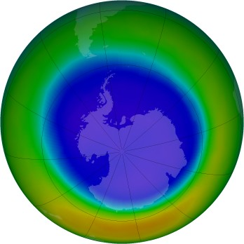 Antarctic ozone map for 2003-09