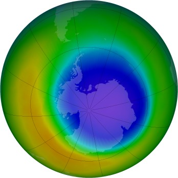Antarctic ozone map for 2003-10