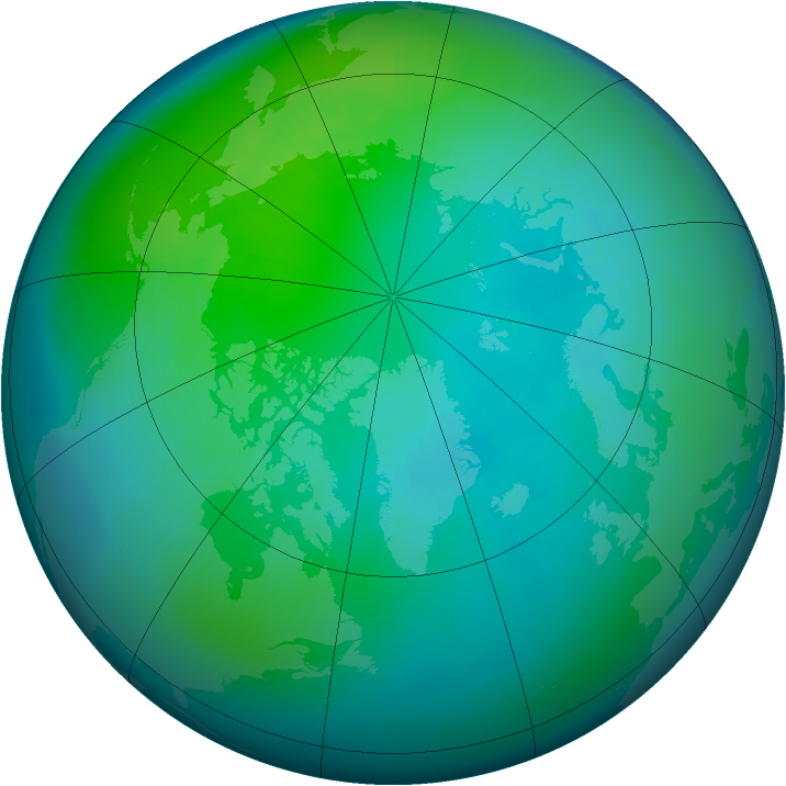 Arctic ozone map for October 2003