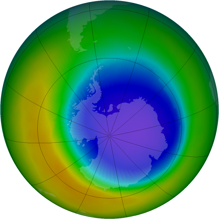 Antarctic ozone map for October 2003