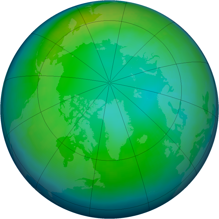 Arctic ozone map for November 2003