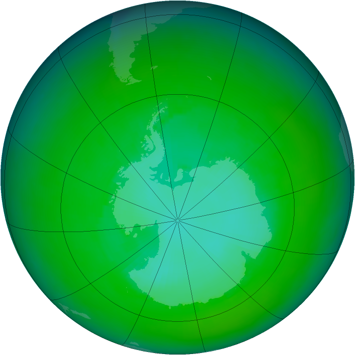 Antarctic ozone map for December 2003