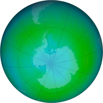 Antarctic ozone map for 2004-01