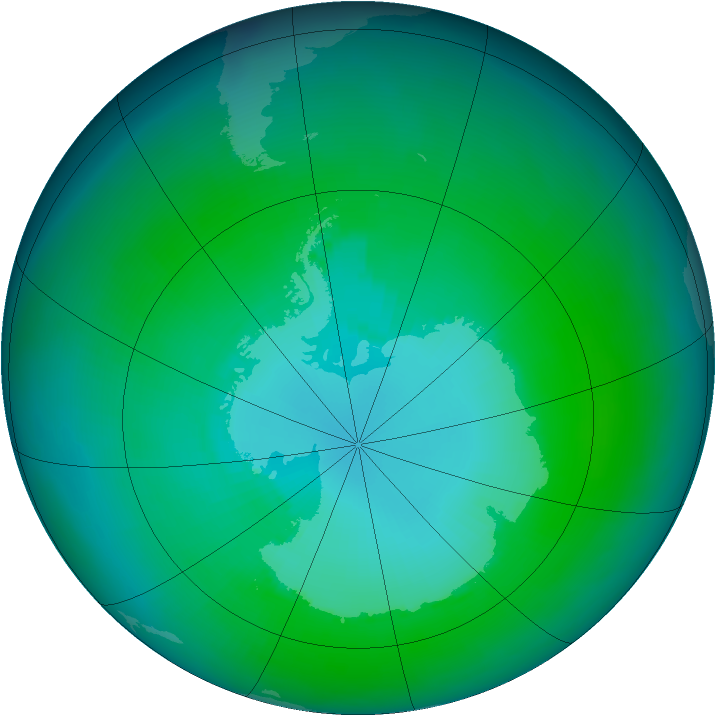 Antarctic ozone map for January 2004