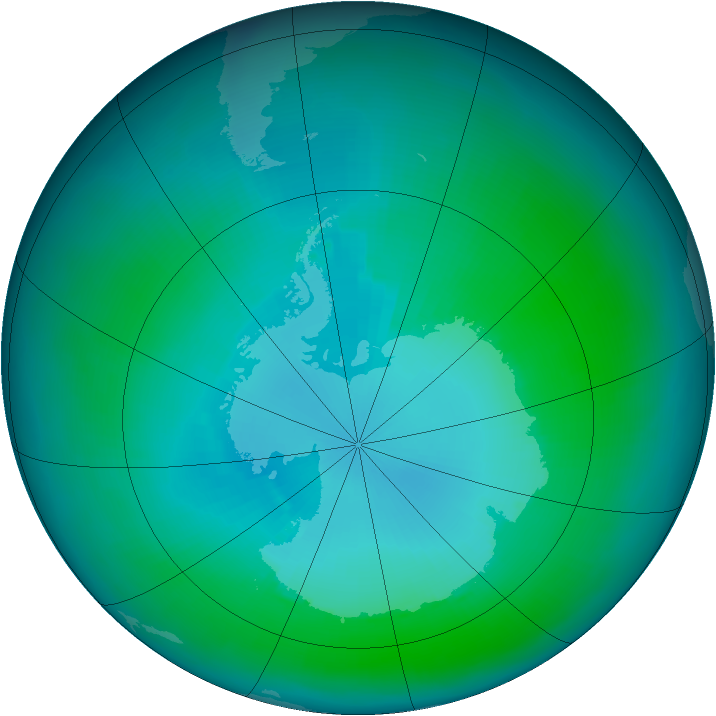Antarctic ozone map for February 2004