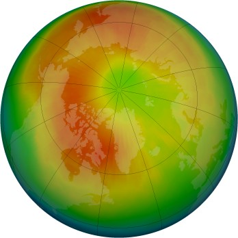 Arctic ozone map for 2004-03