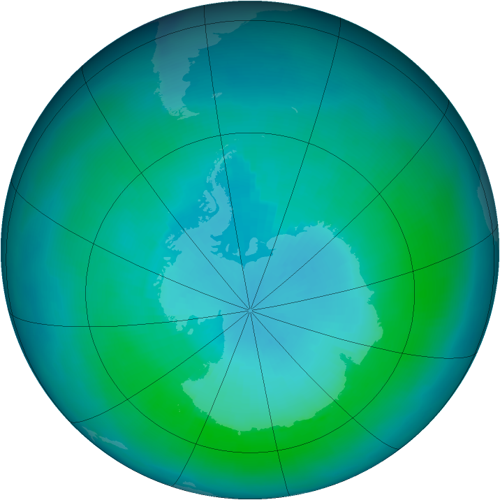 Antarctic ozone map for March 2004