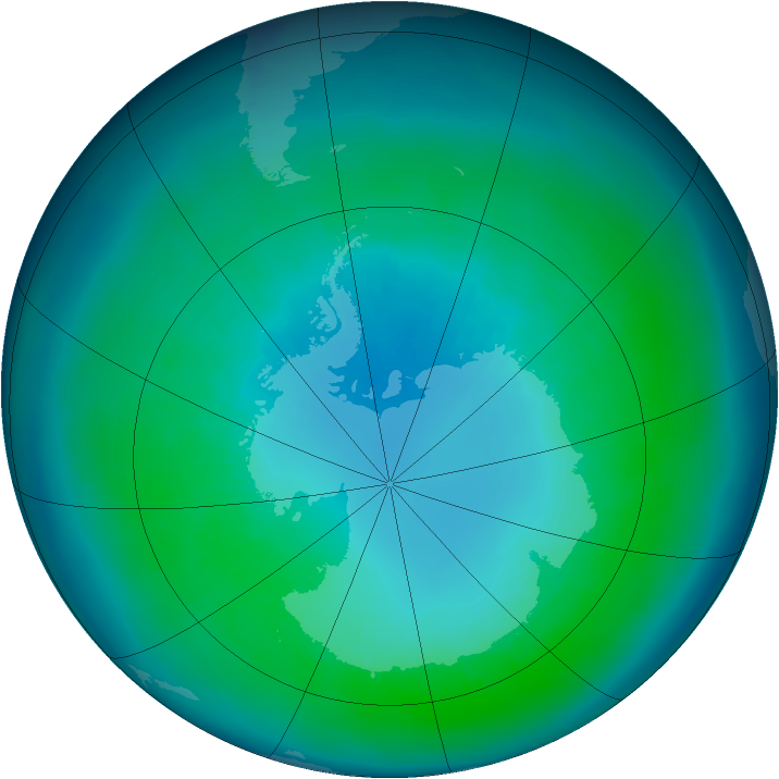 Antarctic ozone map for April 2004