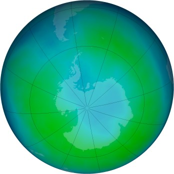 Antarctic ozone map for 2004-05
