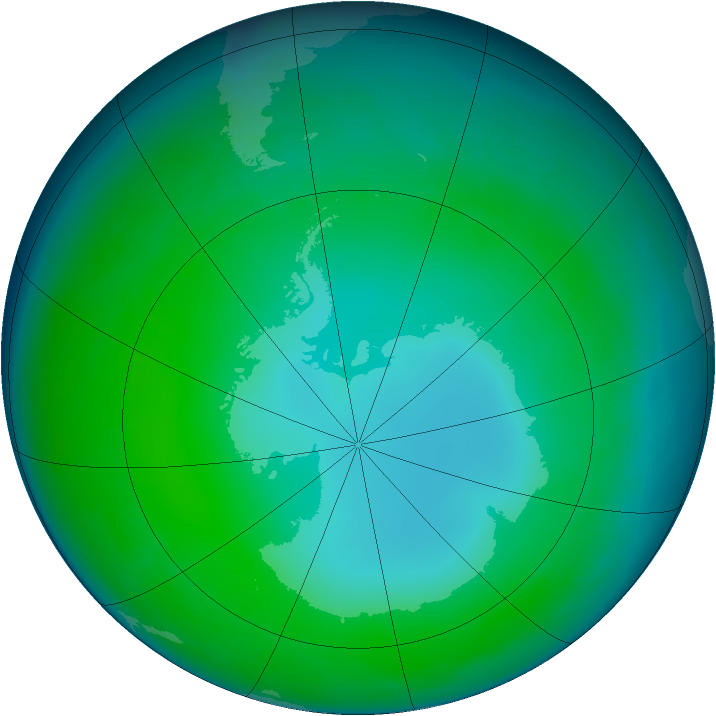 Antarctic ozone map for June 2004