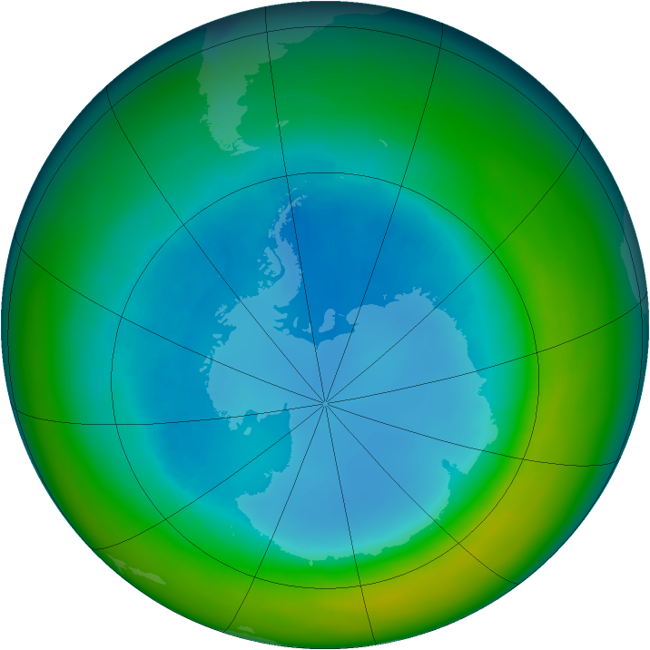 Antarctic ozone map for August 2004