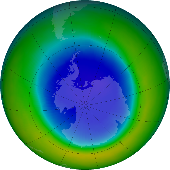 Antarctic ozone map for September 2004