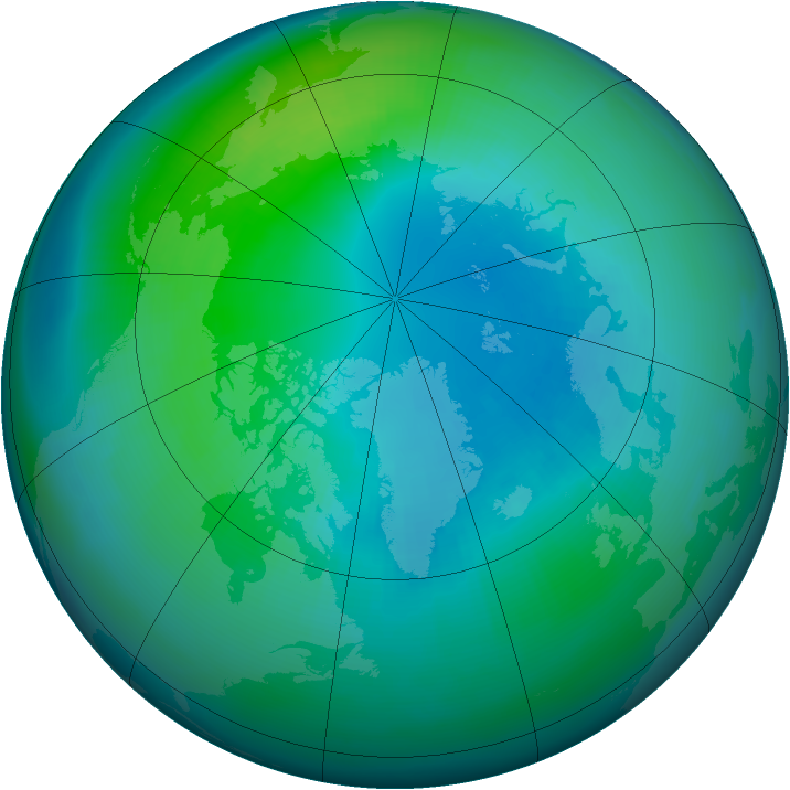 Arctic ozone map for October 2004