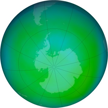 Antarctic ozone map for 2004-12