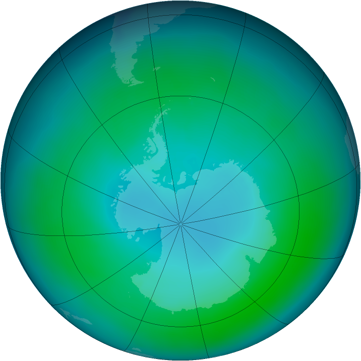 Antarctic ozone map for January 2005