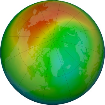 Arctic ozone map for 2005-02