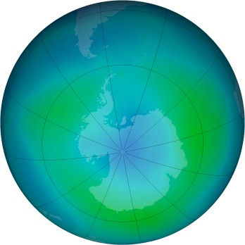 Antarctic ozone map for 2005-02
