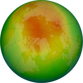 Arctic ozone map for 2005-04