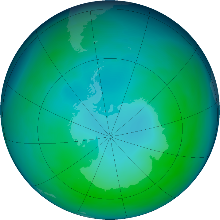 Antarctic ozone map for May 2005